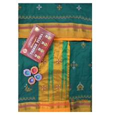 Green kasuti saree with yellow border 2