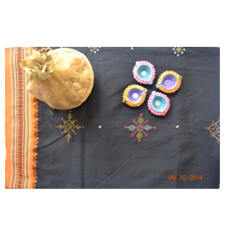 Poly cotton black and orange with kasuti saree 1