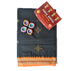 Poly cotton black and orange with kasuti saree 2