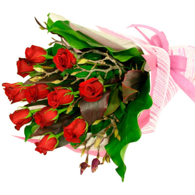 valentine's day red roses basket to belgaum