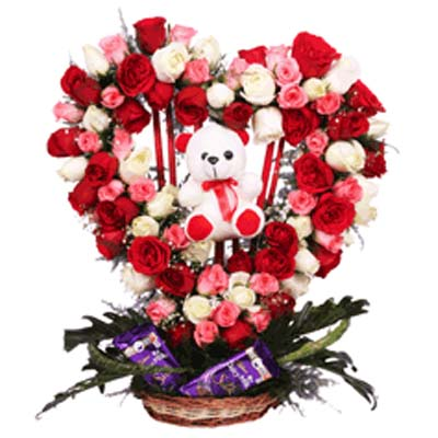 buy valentine's day mixed roses bouquet to belgaum